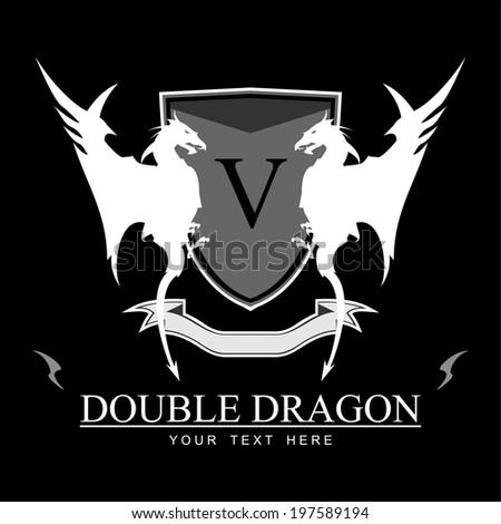 twin white dragons  shield