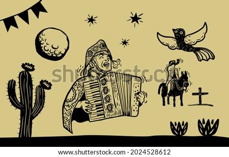 Twine literature icon set. Illustration in woodcut style.