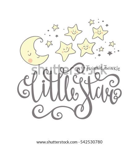 Twinkle Twinkle Little Star card. Bright starry night Stock photo ©