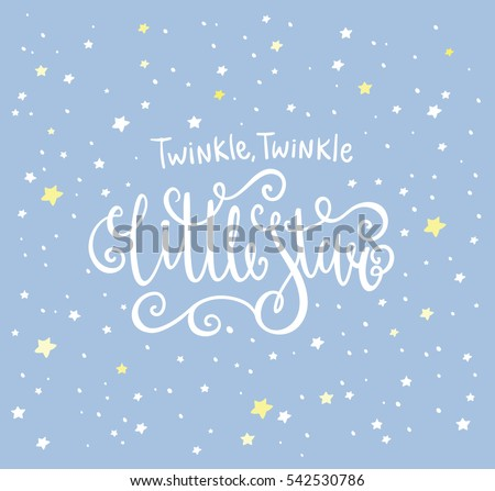 Twinkle Twinkle Little Star card. Bright starry night