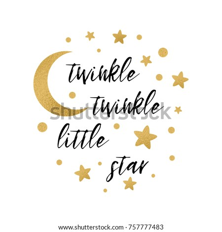 Stock Photo Twinkle twinkle little star text with cute gold star and moon for girl baby shower card template Vector illustration. Banner for children birthday design, logo, label, sign, print. Inspirational quote