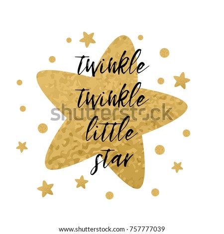 Twinkle twinkle little star text with cute golden stars for girl baby shower card template. Vector illustration. Banner for children birthday design, logo, label, sign, print. Inspirational quote