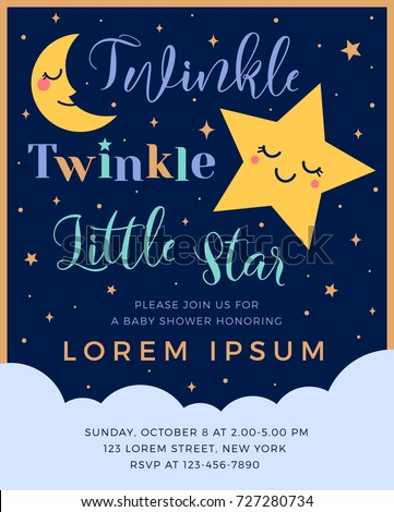 Twinkle twinkle little star text with cute star and moon for boy baby shower card template Stock photo ©