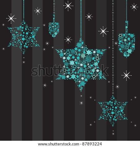 Twinkling Stars of David Hanukkah Card with hanging dreidels