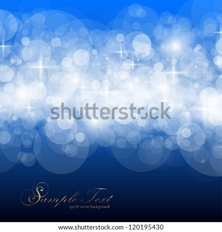 Twinkly Lights and Stars Christmas Background, vector. - stock vector
