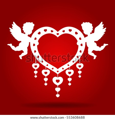 twins cupid hold heart on red