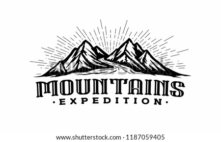 twins mountains with river logo
