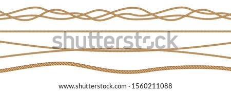 Twisted and straight rope set. Vector design elements