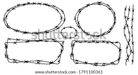 Twisted barbed wire silhouettes set in rounded and square shapes. Vector illustration of steel black wire barb fence frames. Concept of protection, danger or security Foto stock ©