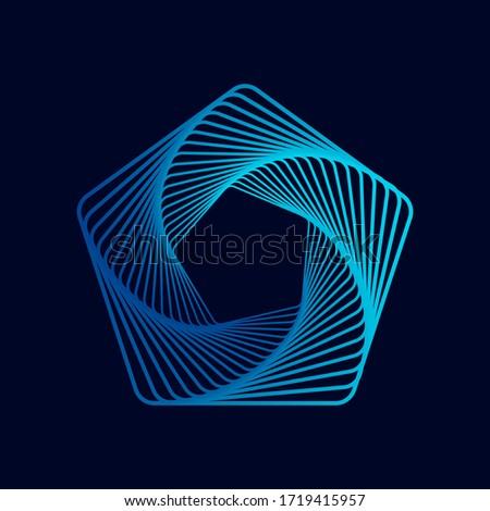 Twisted colored spiral. Wireframe pentagon shape. Vector technology lines graphic element. ストックフォト ©