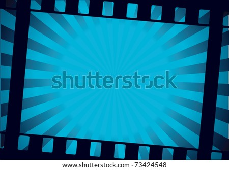 twisted film for photo or video recording on blue background vector illustration