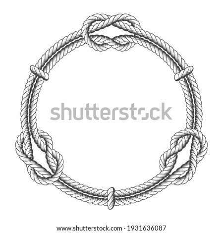 Twisted rope circle - round frame with knots, vector rope border