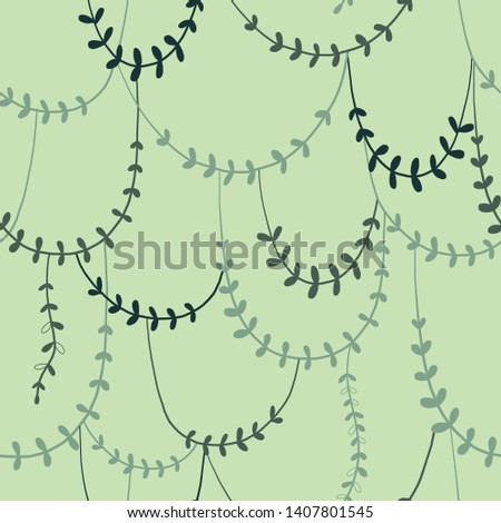 Twisted wild liana branches color vector seamless pattern. Jungle plants green background. Tropical rainforest. Tropic leaves. Decorative botanical textile, wallpaper, wrapping paper design
