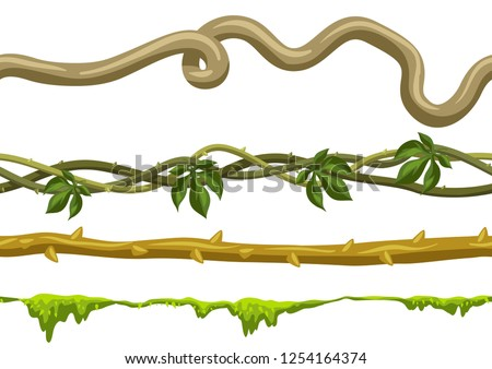 Twisted wild lianas branches set. Seamless patterns. Jungle vines plants. Woody natural tropical rainforest.