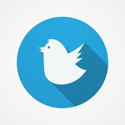 Twitter Bird social web or internet button. Blue Fat Twitter Bird icon.