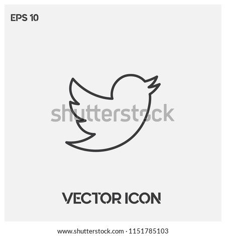 Twitter bird vector icon.Twitter logo symbol.Social media sign isolated on white background.Simple social illustration for web and mobile platforms.Premium quality.