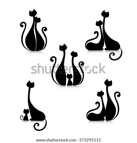 two abstract decorative cat in