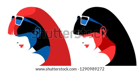 two abstract female portraits