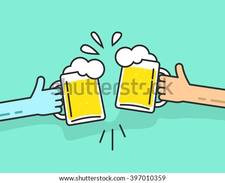 two abstract hands holding beer