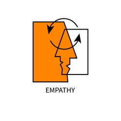 Two abstract profiles, icon psychology of communication. Vector illustration