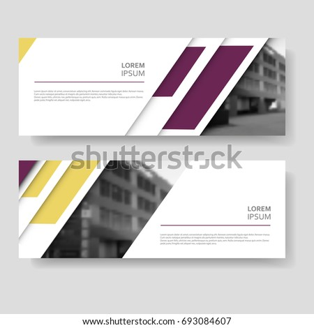 Two abstract vector banner design with modern color line style #693084607