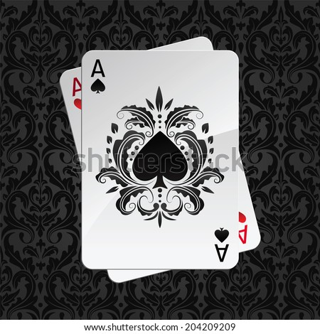 two aces playing cards on black