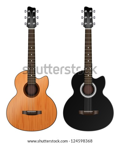 two acoustic guitars on a white background