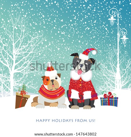 Two adorable puppies in cute Christmas outfit bring holiday gifts in boxes Vector EPS 10 illustration