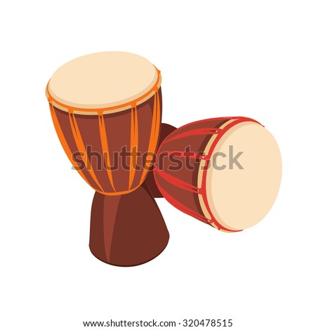 two african djembe drum on