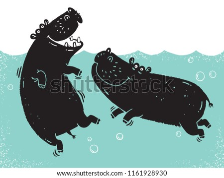 Two African hippos wallowing in a river pool drawn in a rough stamped style. Vector illustration.