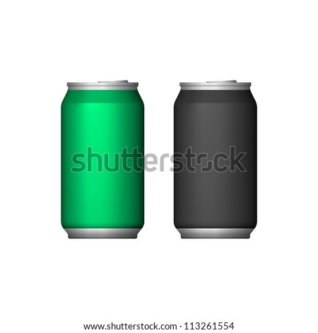 Two Aluminum Can Green Black. Ready For Your Design. Vector EPS10