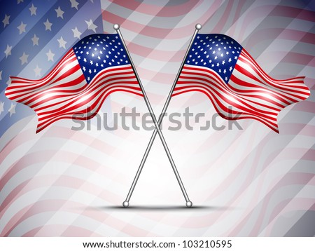 Two American Flag waving on seamless flag background for 4 July Independence Day and other occasions. EPS 10.