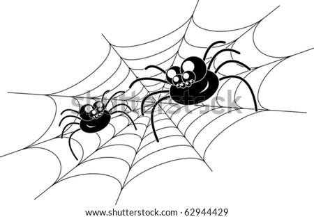 two amusing black spiders on