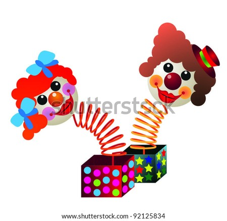 Two amusing vector clowns on a white background.