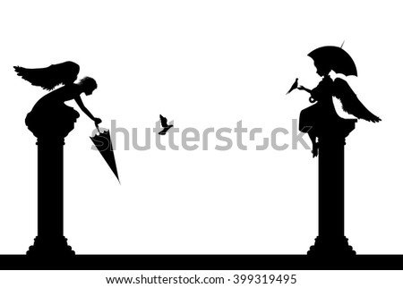 two angel statues silhouette