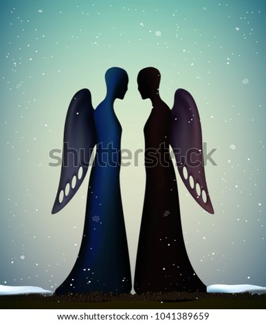 two angels  together forever