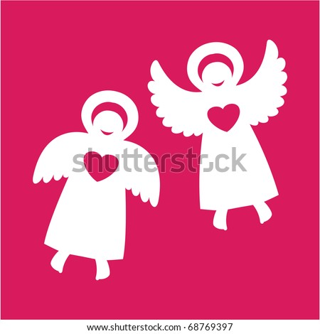 two angels with hearts on a red