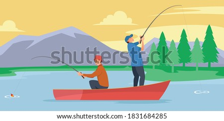 two anglers are in the middle