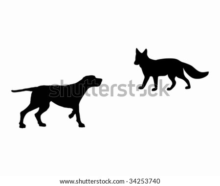 two animals  setter and fox