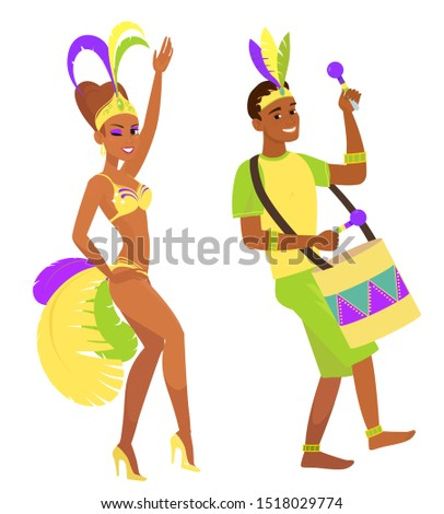 Two animated characters in carnival costumes. Musical performers and samba dancers.