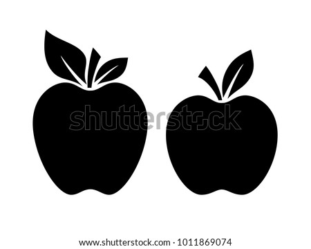 two apple silhouette vector