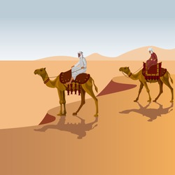 Two arab men riding a camel in the desert. Vector illustration