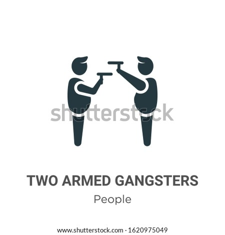 Two armed gangsters pointing each other with their arms glyph icon vector on white background. Flat vector two armed gangsters pointing each other with their arms icon symbol sign from modern people