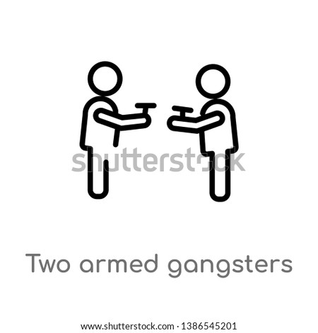 two armed gangsters pointing each other with their arms vector line icon. Simple element illustration. two armed gangsters pointing each other with their arms outline icon from people concept.