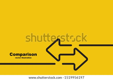 Two arrows are directed in different directions. Template comparison black line design. Confrontation logo. Glyph icon isolated on yellow background. Vector illustration flat style.  Stockfoto ©