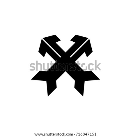 two arrows crossed logo vector