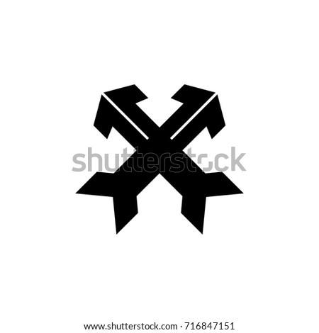 two arrows crossed logo vector