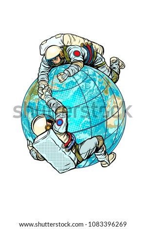 Two astronauts on the planet Earth help each other. Pop art retro vector illustration comic cartoon kitsch vintage drawing