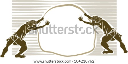 stock vector : Two athletes and pushing stone scene