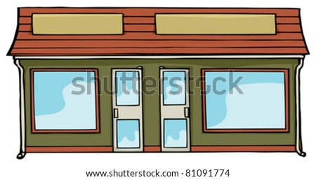 Two attached commercial storefronts with blank signs and windows